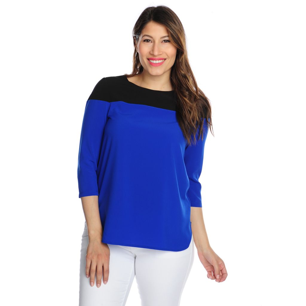 717-120 - Cassandra Stretch Woven 3/4 Sleeved Keyhole Back Color Blocked Top