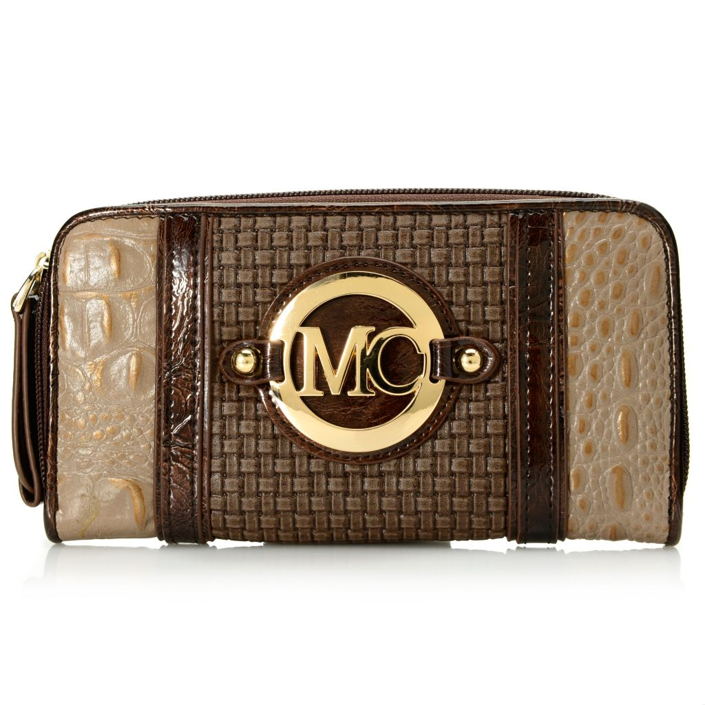 717-129 - Madi Claire Croco & Woven Embossed Zip Around Logo Wallet