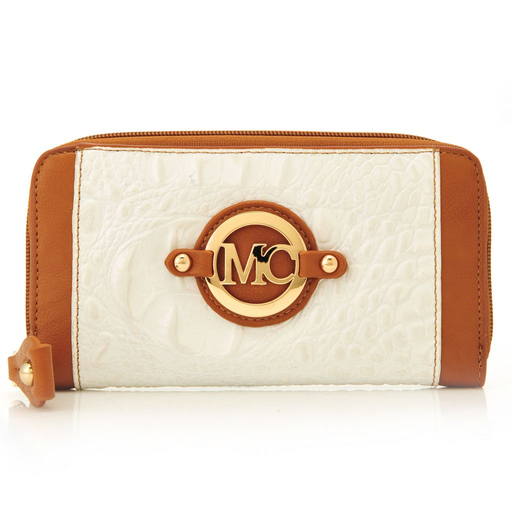 717-130 - Madi Claire Croco Embossed Leather Color Block Zip Around Wallet
