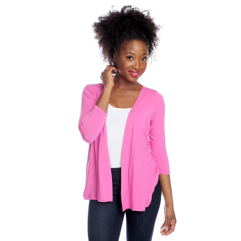 717-134 - Kate & Mallory Stretch Knit 3/4 Sleeved Crisscross Back Open Cardigan