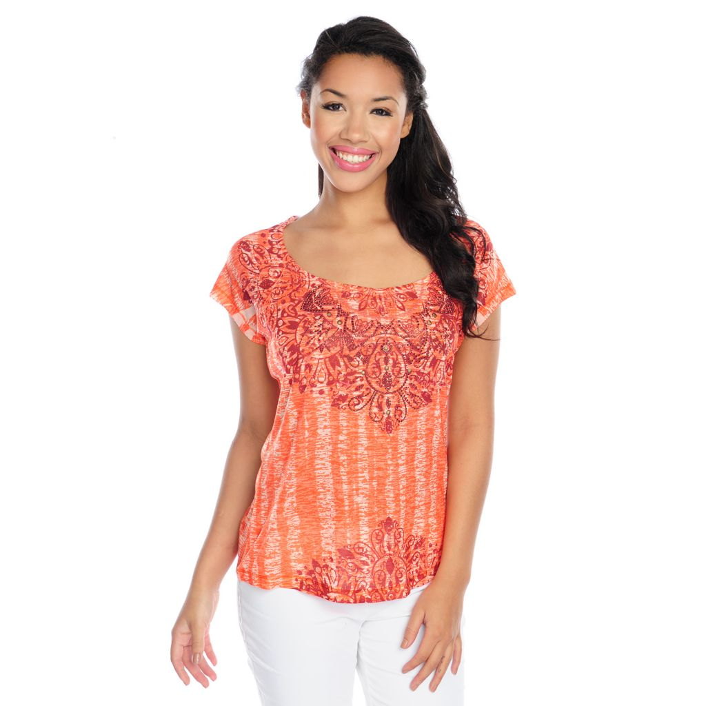 717-139 - One World Burnout Knit Short Sleeved Embellished Scoop Neck Tee