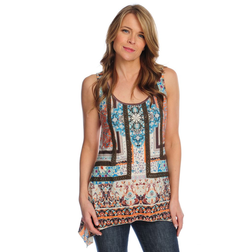 717-142 - One World Micro Jersey Sleeveless Lace Detail Sharkbite Top
