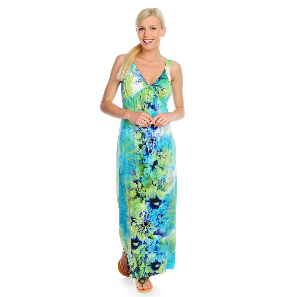 717-147 - One World Micro Jersey Sleeveless Braided Detail V-Neck Maxi Dress