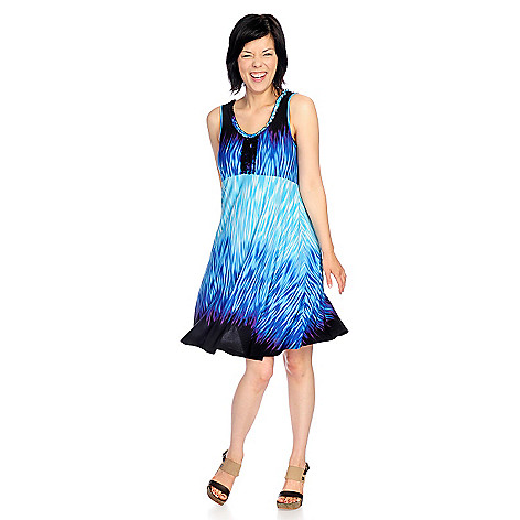 717-148 - One World Printed Knit Sleeveless Ruffle Trimmed Flip Flop Dress