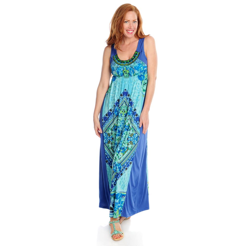 717-150 - One World Micro Jersey Sleeveless Embellished Maxi Dress