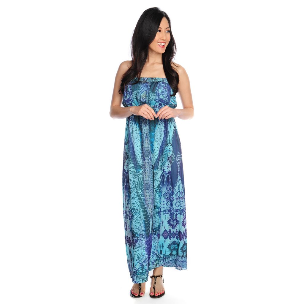 717-151 - One World Printed Yoryu Bandeau Top Layered Maxi Dress