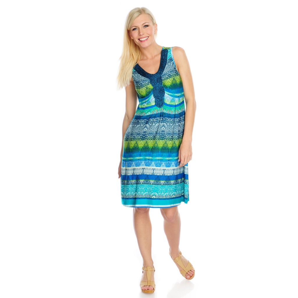 717-152 - One World Printed Knit Sleeveless Metallic Applique Flip Flop Dress