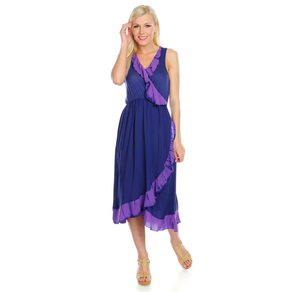 717-153 - One World Stretch Knit Sleeveless Tie-Dyed Ruffle Faux Wrap Dress