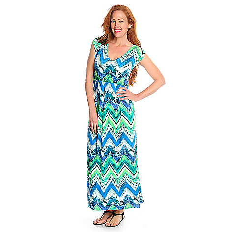 717-154 - One World Printed Knit Cap Sleeved Double V-Neck Maxi Dress