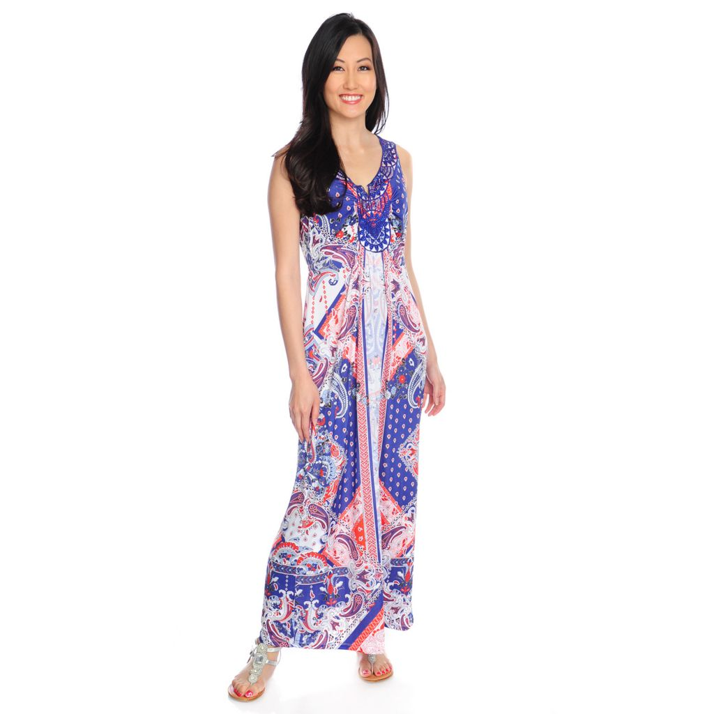 717-160 - One World Micro Jersey Sleeveless Notch Neck Printed Maxi Dress