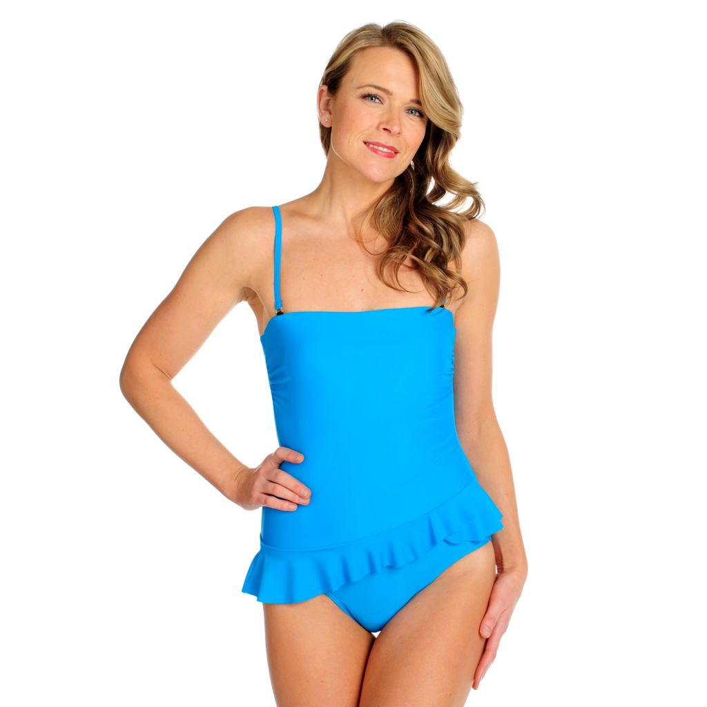 717-167 - Make A Splash Ruffle Front One-Piece Swimsuit w/ Removable Straps
