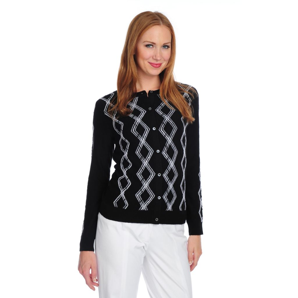 717-172 - Brooks Brothers® Merino Wool Long Sleeved Argyle Design Cardigan Sweater