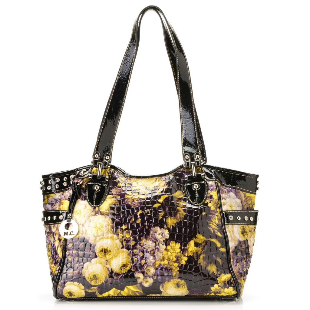 717-173 - Madi Claire Patent Croco Embossed Leather Double Handle Shopper Tote Bag