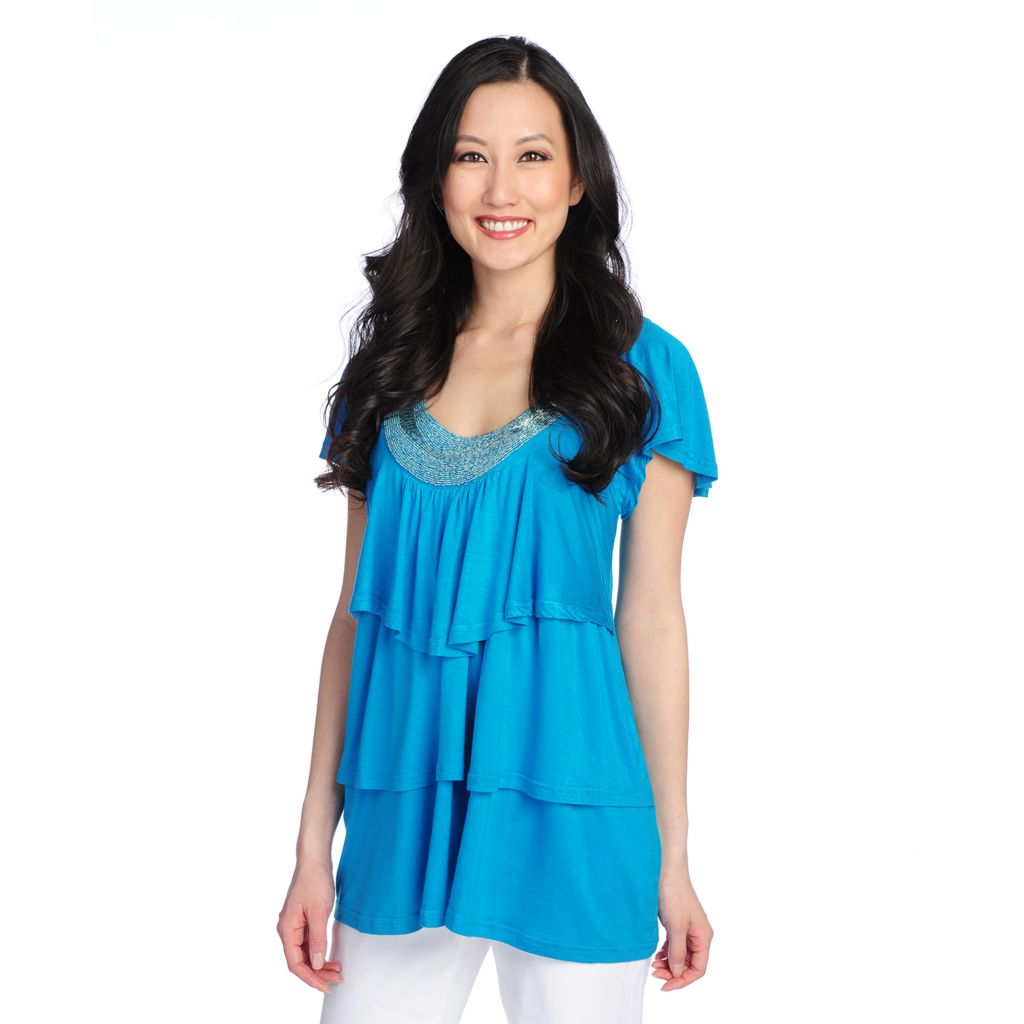 717-177 - Glitterscape Stretch Knit Flutter Sleeve Beaded Neck Three-Tiered Top