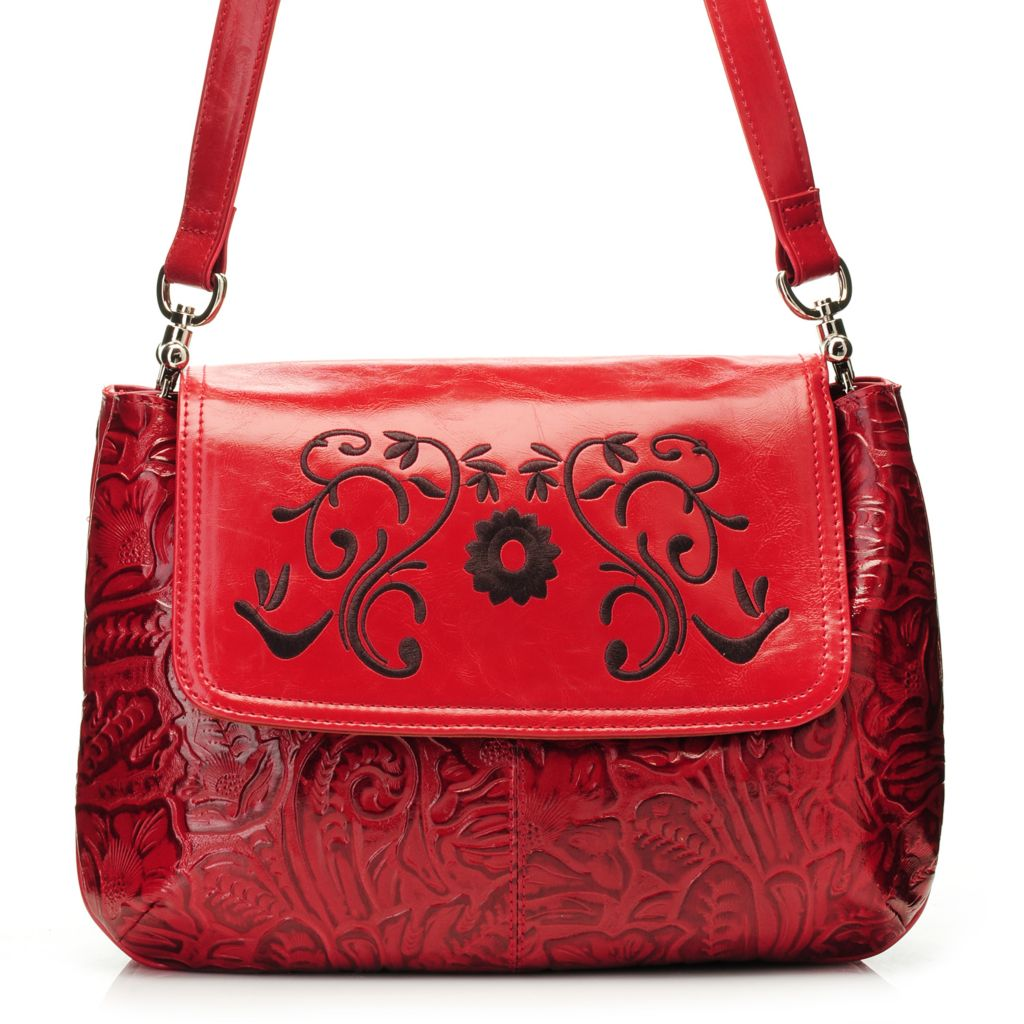 717-178 - Madi Claire Tool Embossed Leather Embroidered Flower Large Flap-over Cross Body Bag