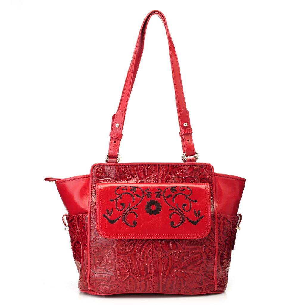 717-179 - Madi Claire Tool Embossed Leather Double Handle Zip Top Tote Bag