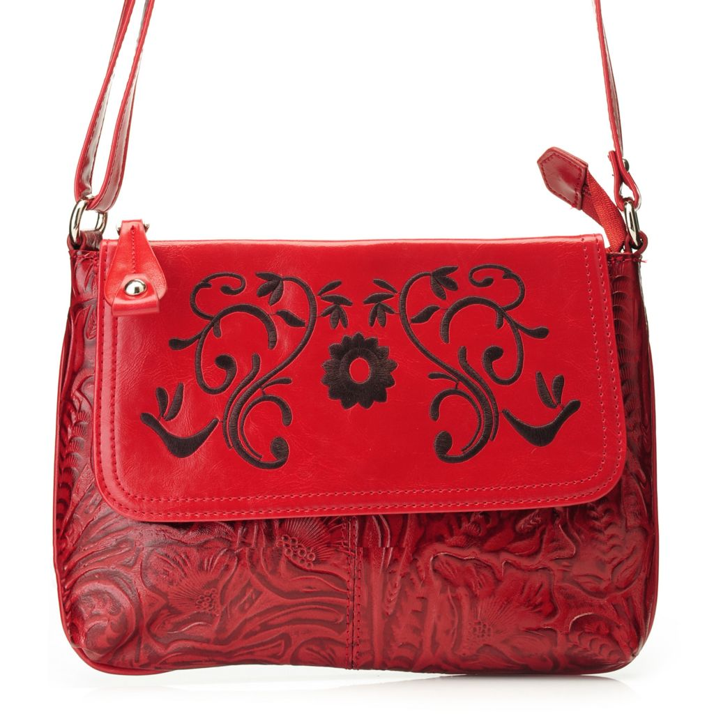 717-180 - Madi Claire Tool Embossed Leather Zip Top Embroidered Flower Cross Body Bag
