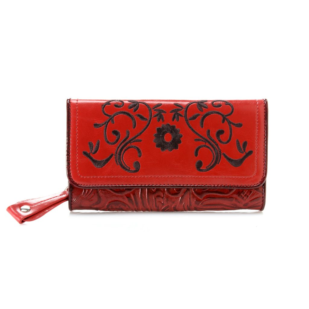 717-181 - Madi Claire Tool Embossed Leather Embroidered Flower Flap-over Wallet