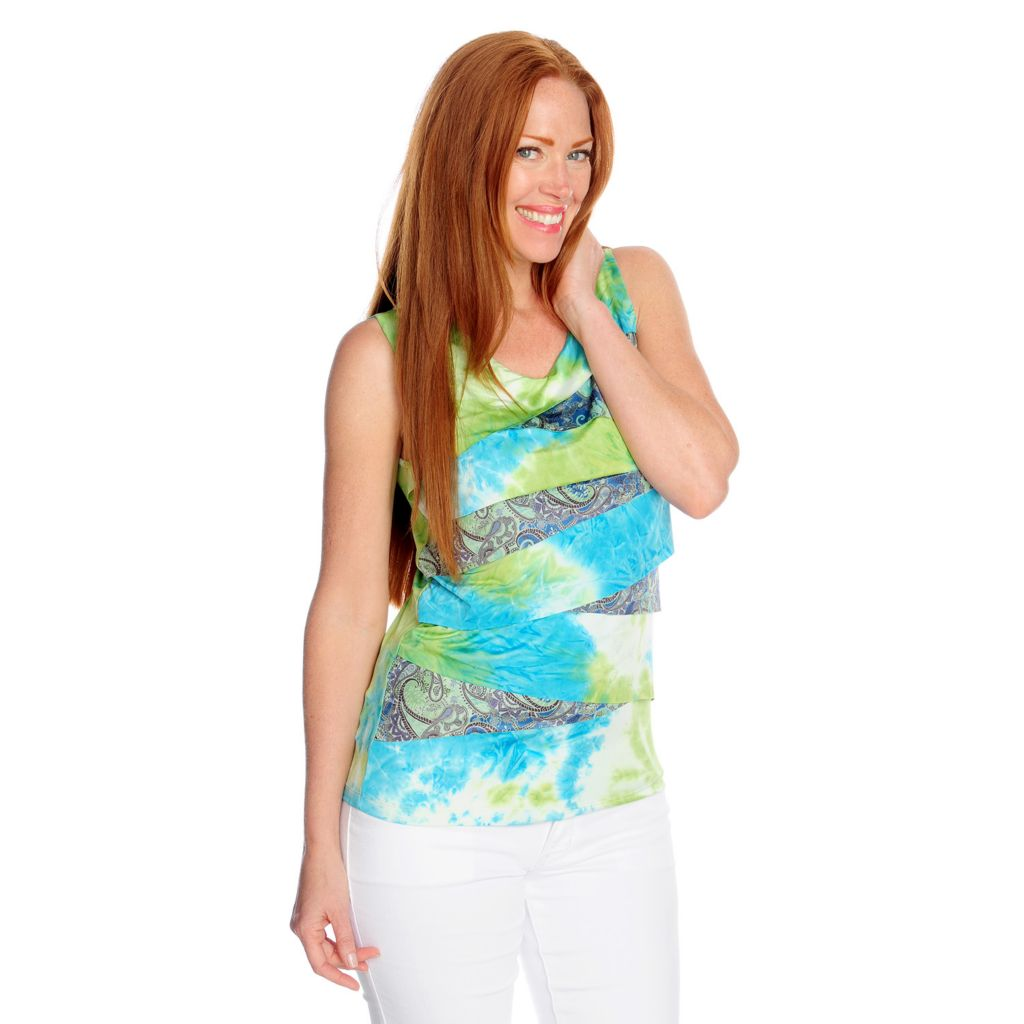717-182 - One World Micro Jersey Sleeveless Tiered Front Tie-Dyed Tank Top