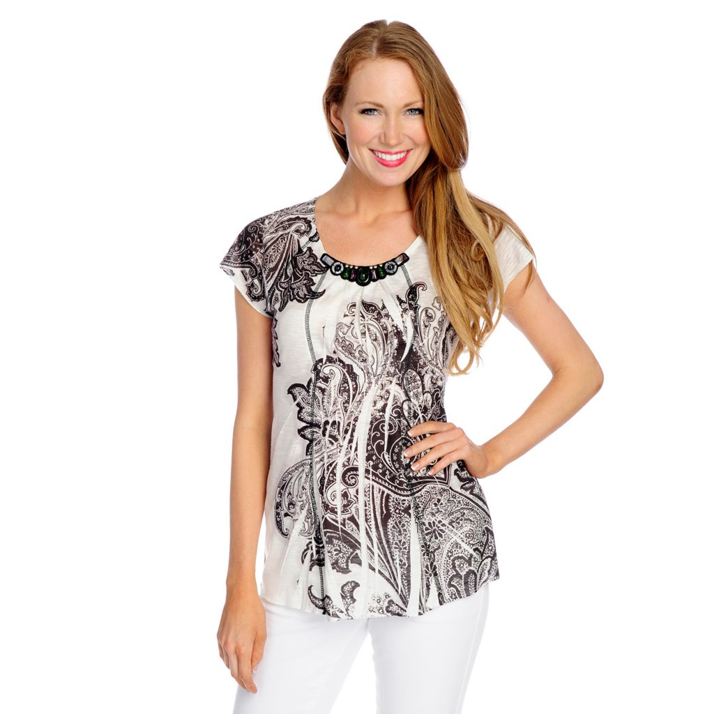 717-184 - One World Slub Knit Raglan Sleeve Beaded Neck Printed Top