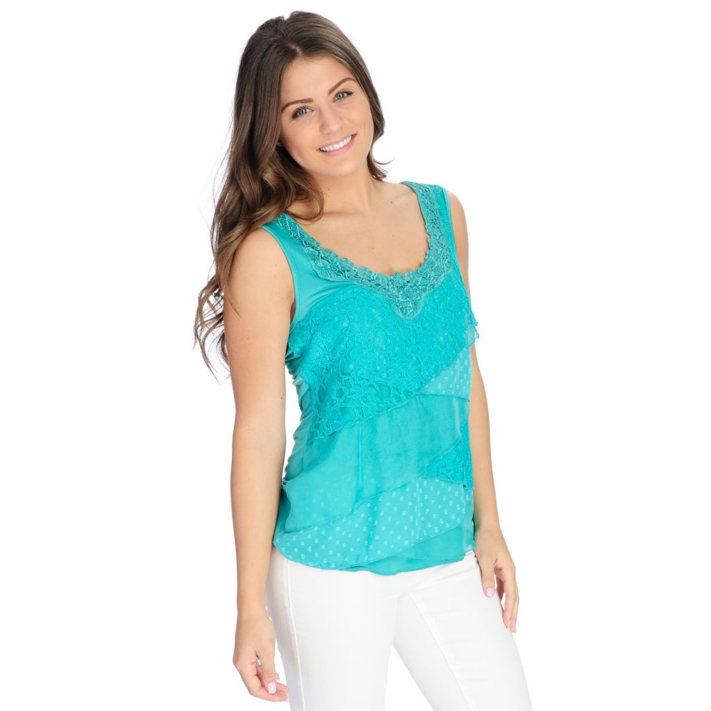 717-185 - One World Mixed Media Sleeveless Tiered Lace Overlay Top