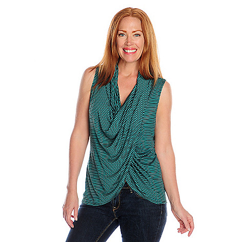 717-186 - One World Striped Knit Sleeveless V-Neck Drape Front Top