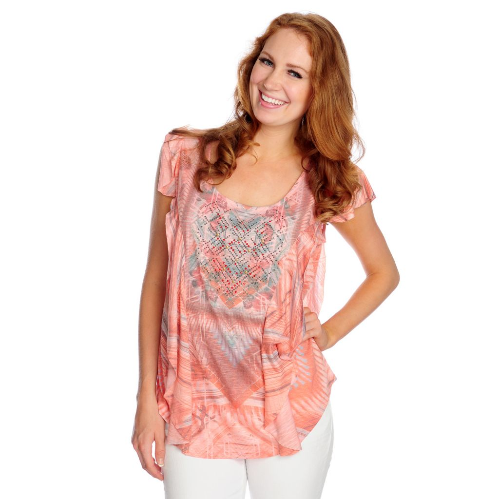 717-187 - One World Printed Knit Cap Sleeved Scoop Neck Ruffle Trim Top