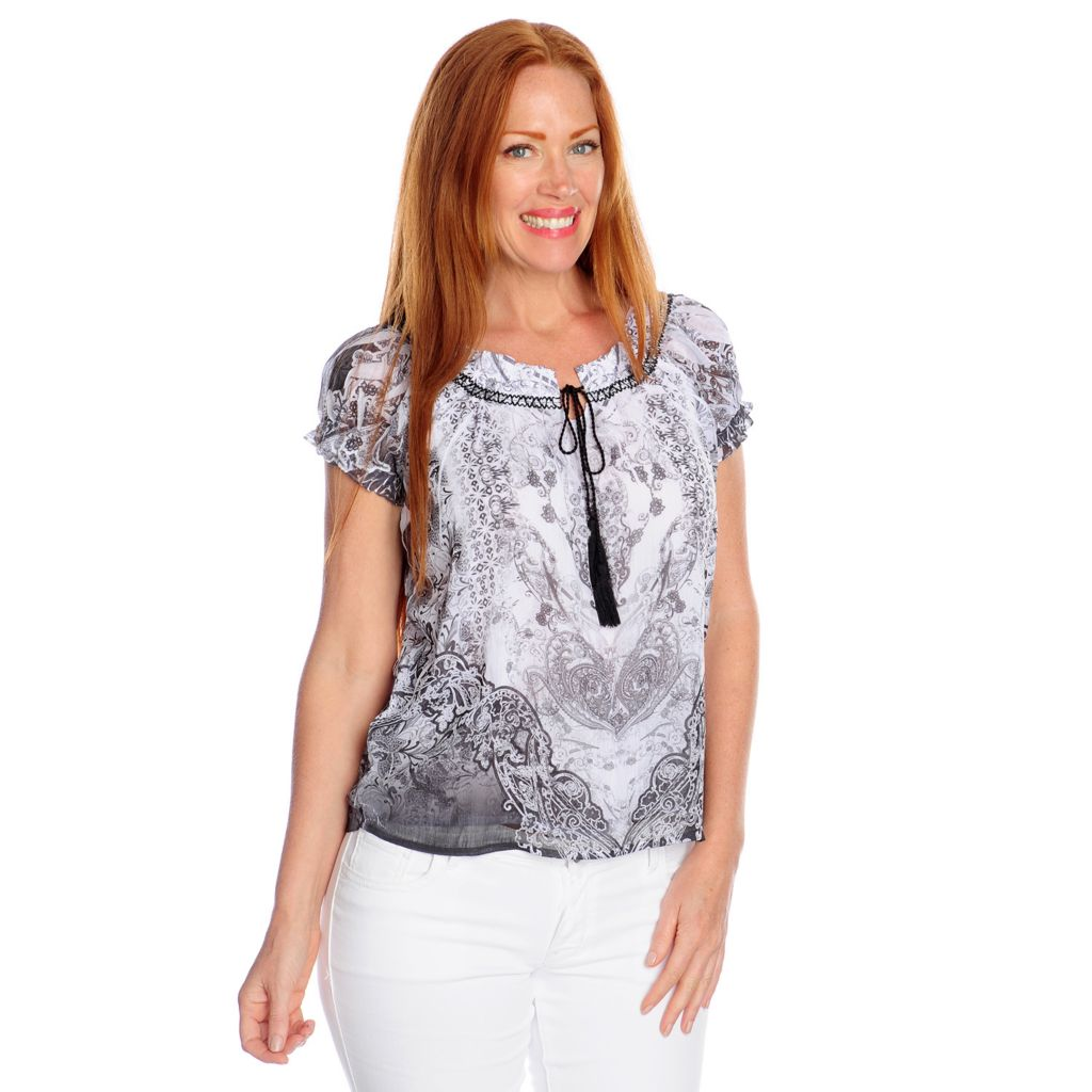 717-188 - One World Printed Yoryu Raglan Sleeved Tie-Neck Peasant Top