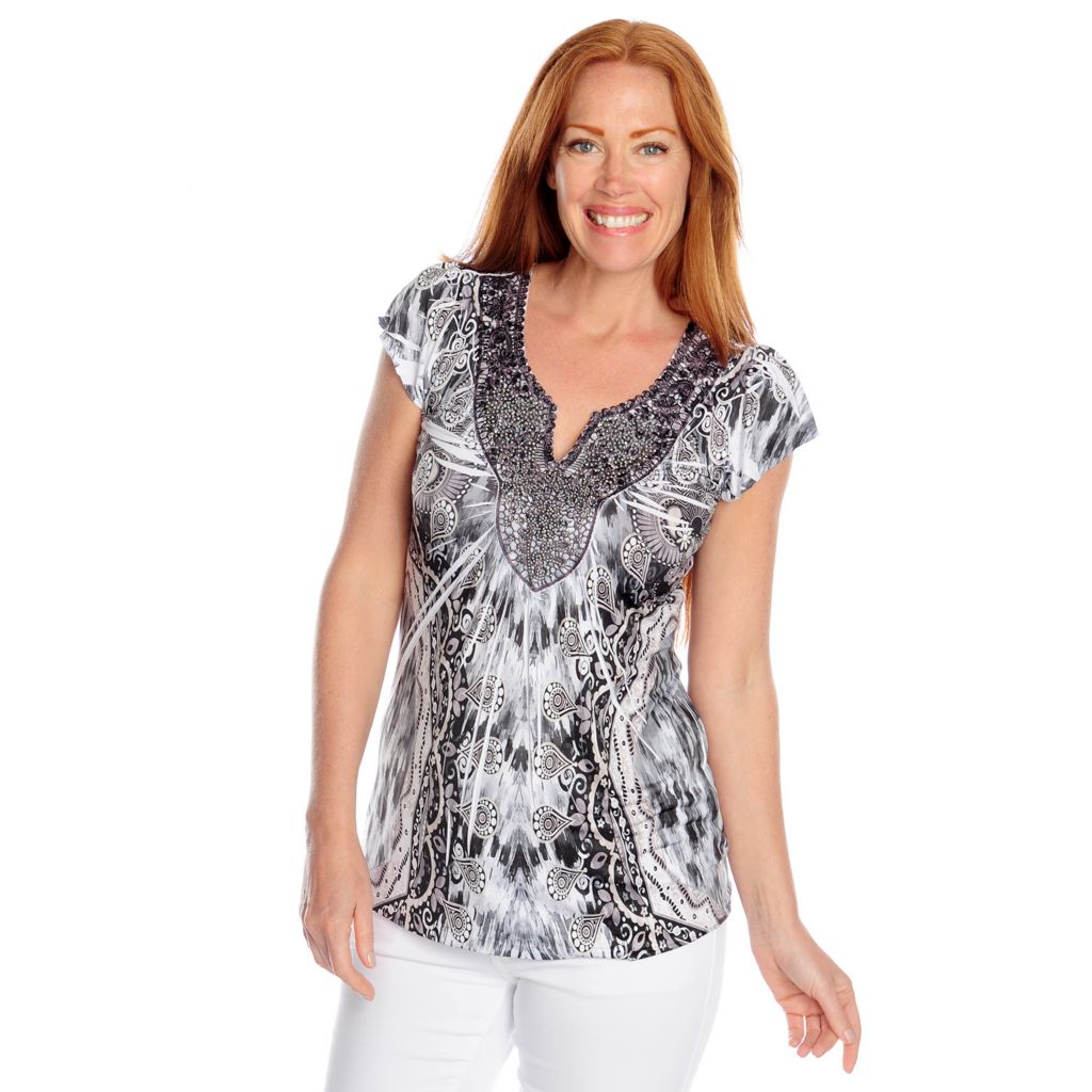 717-189 - One World Micro Jersey Flutter Sleeved Studded Applique Printed Top