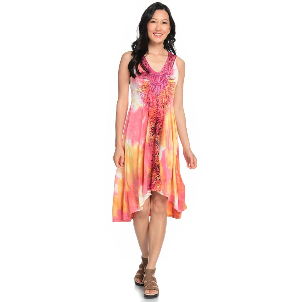 717-190 - One World Micro Jersey Sleeveless Tie-Dyed Hi-Lo Dress