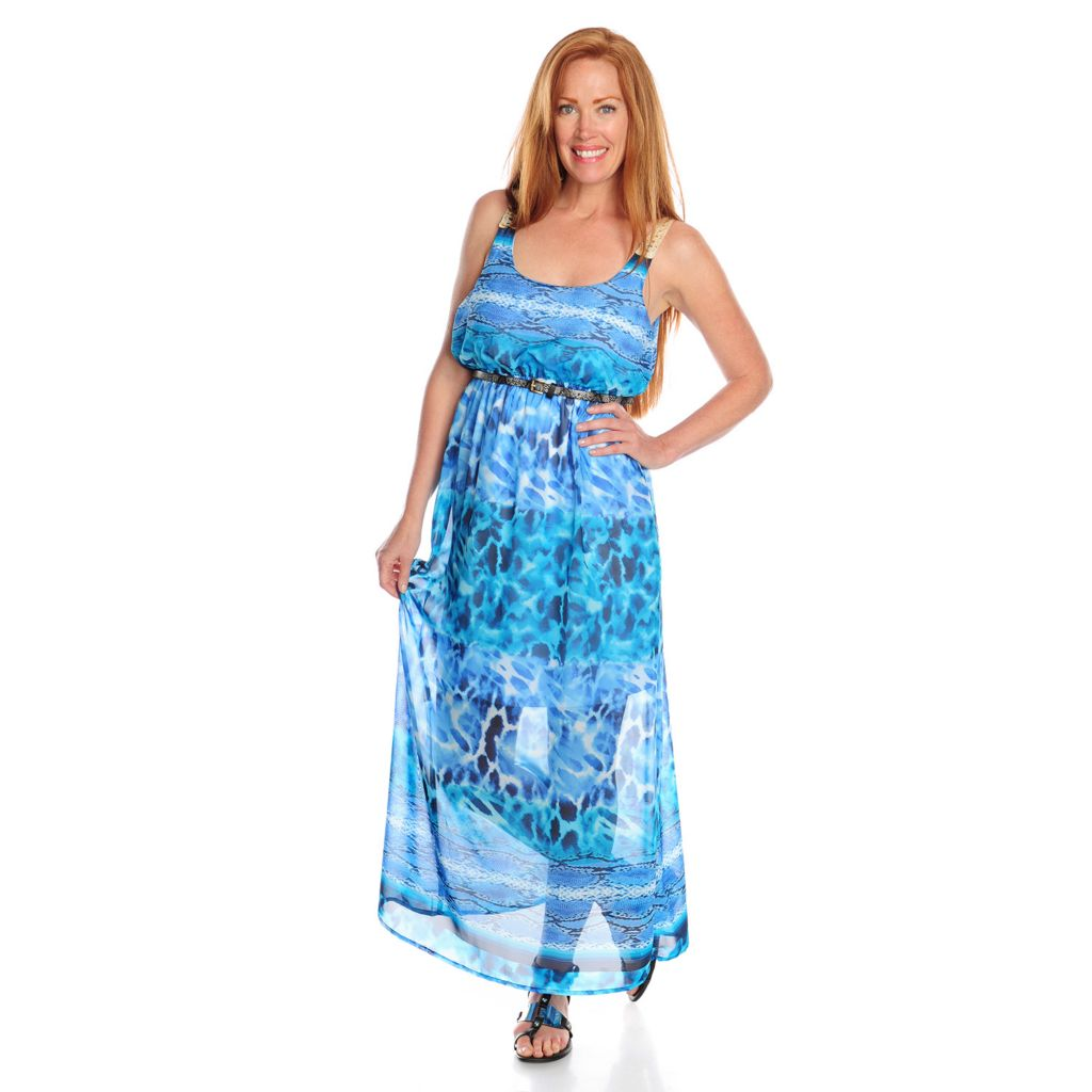 717-191 - One World Printed Chiffon Sleeveless Scoop Neck Maxi Dress w/ Belt