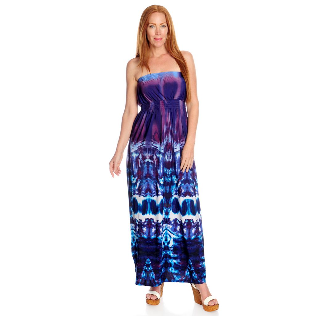 717-193 - One World Printed Knit Strapless Smocked Waist Bandeau Maxi Dress
