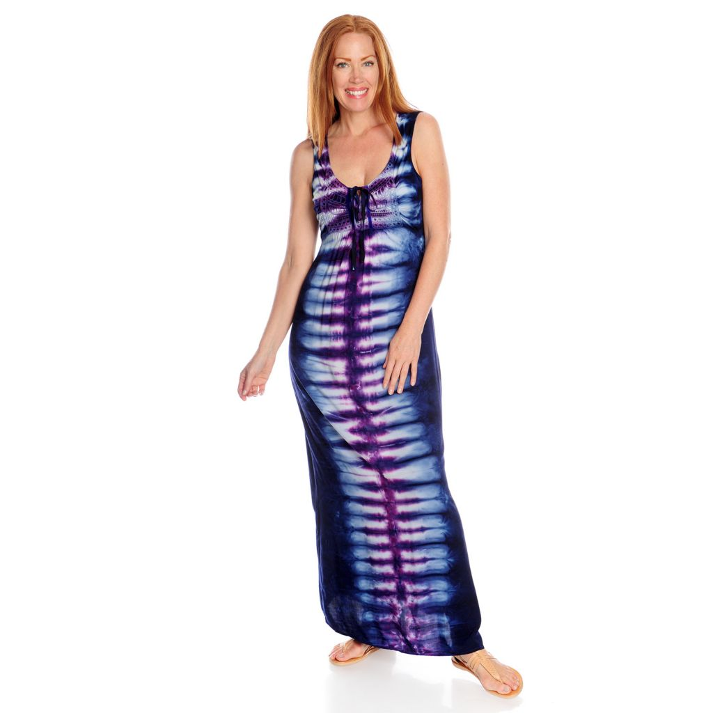 717-194 - One World Mixed Media Sleeveless Tie-Dyed Maxi Dress