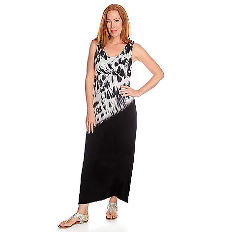 717-195 - One World Stretch Knit Crochet Back Tie-Dyed Maxi Dress