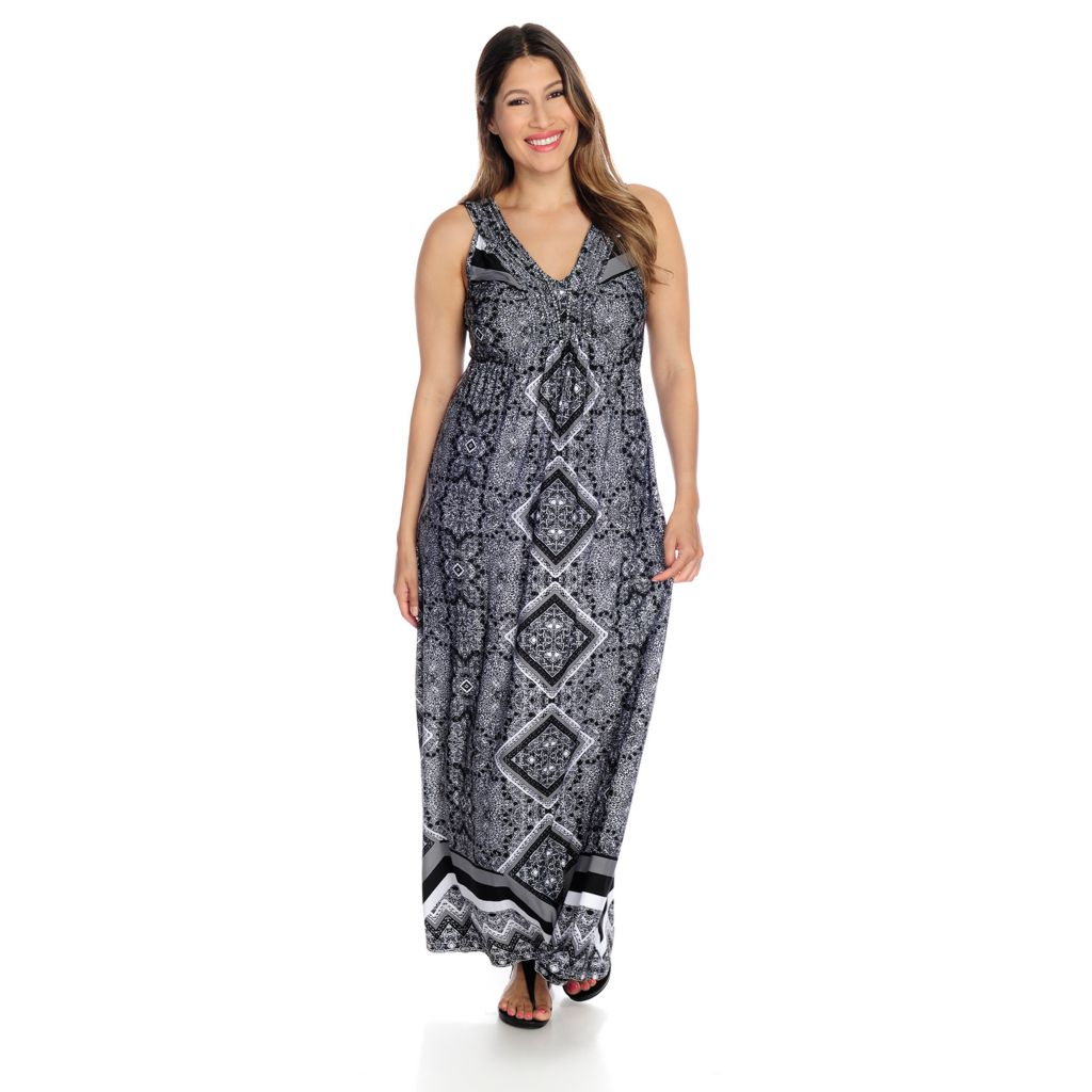 717-196 - One World Printed Knit Sleeveless Braided Detail Maxi Dress