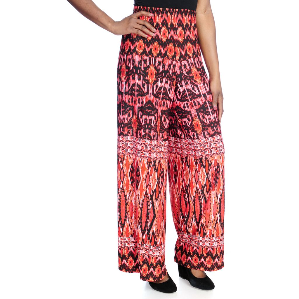 717-199 - One World Printed Knit Elastic Waist Pull-on Palazzo Pants
