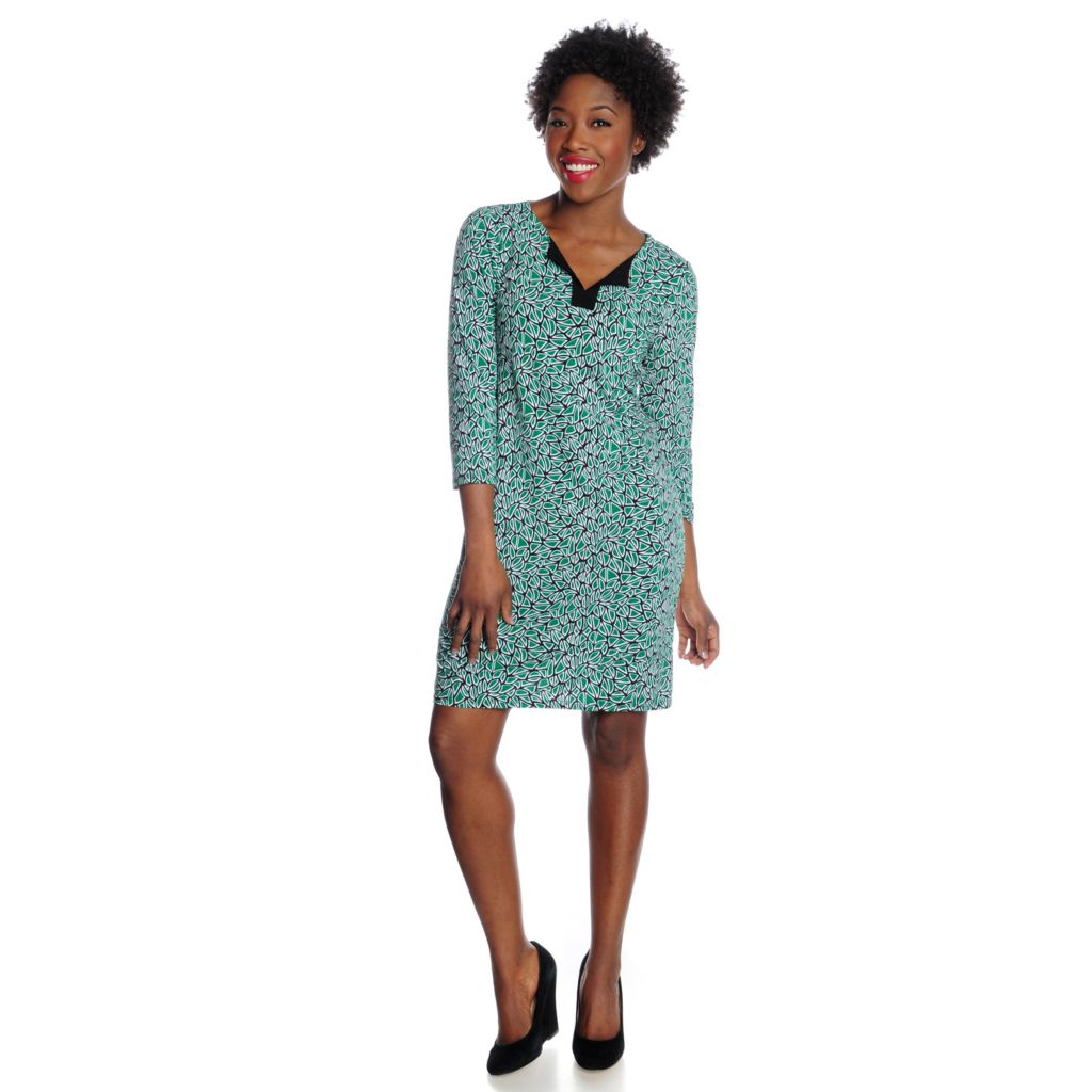 717-201 - aDRESSing WOMAN Stretch Knit 3/4 Sleeved Notch Neck Printed Dress