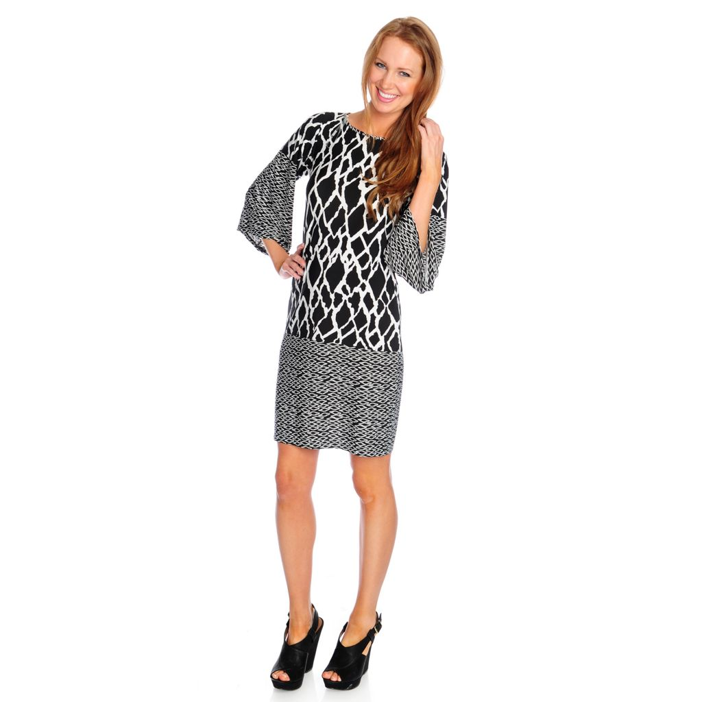 717-203 - aDRESSing WOMAN Stretch Knit Wide 3/4 Sleeve Printed Tunic Dress