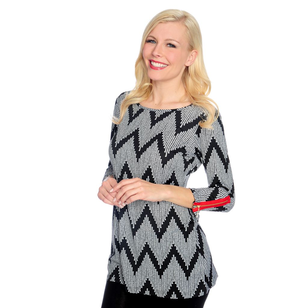 717-205 - aDRESSing WOMAN Printed Knit 3/4 Sleeved Zip Cuff Printed Tunic
