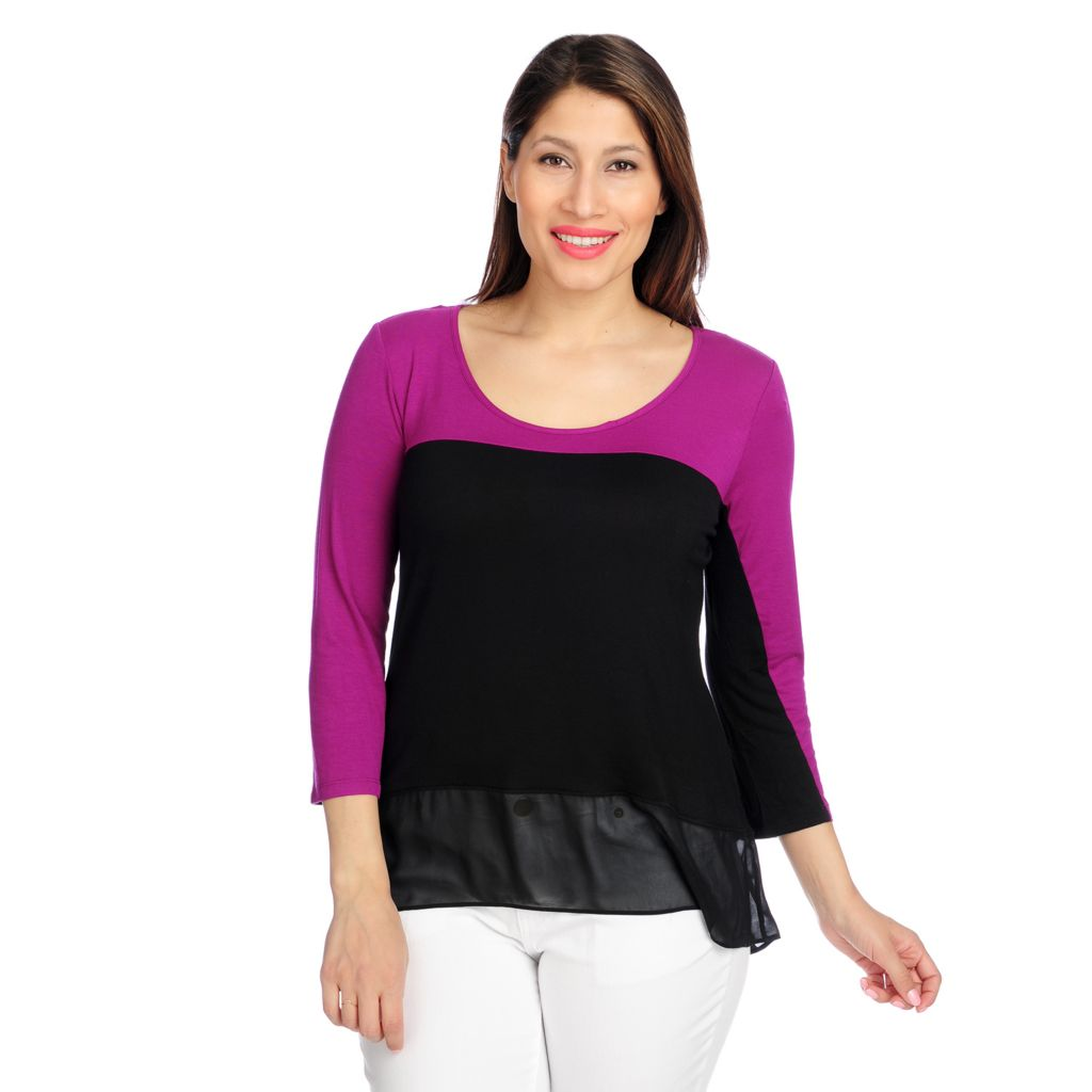 717-207 - aDRESSing WOMAN Stretch Knit 3/4 Sleeved Chiffon Hem Color Block Top