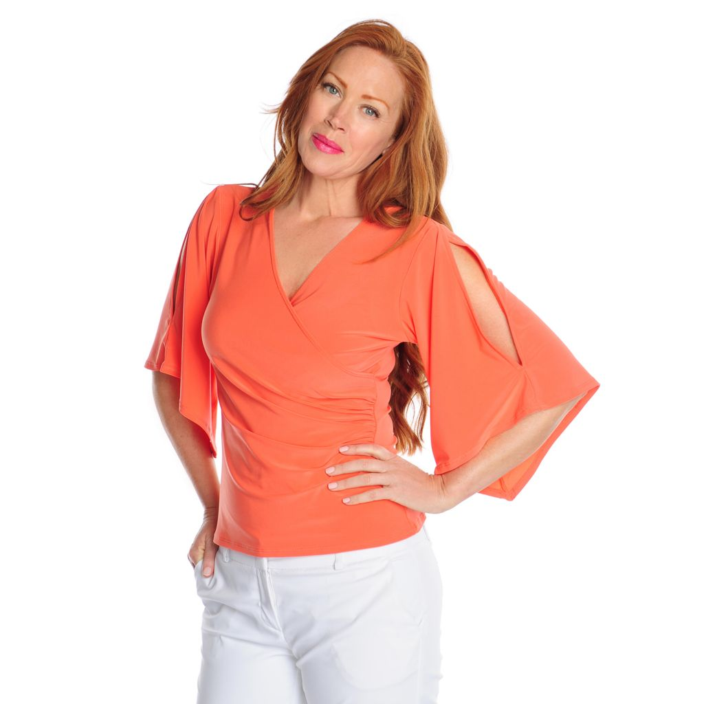 717-208 - aDRESSing WOMAN Stretch Knit Kimono Sleeved Cold Shoulder Faux Wrap Top