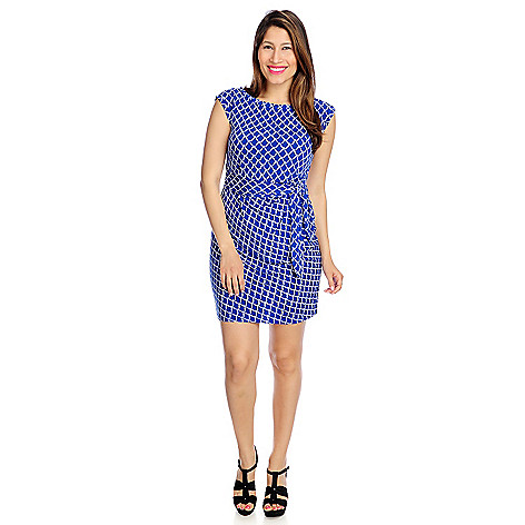 717-212 - aDRESSing WOMAN Printed Knit Cap Sleeved Tie-Front Shift Dress