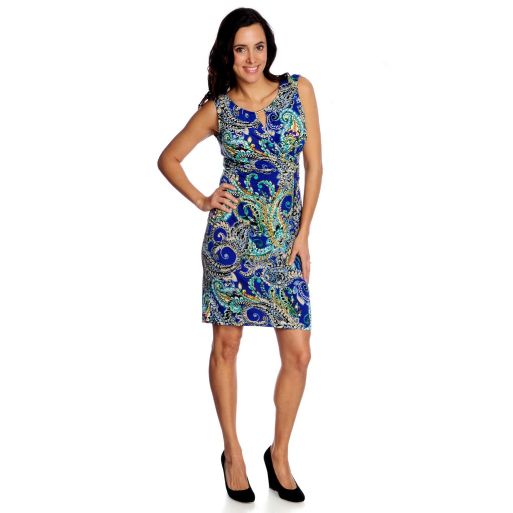 717-214 - aDRESSing WOMAN Printed Knit Sleeveless Keyhole Neck Faux Wrap Dress