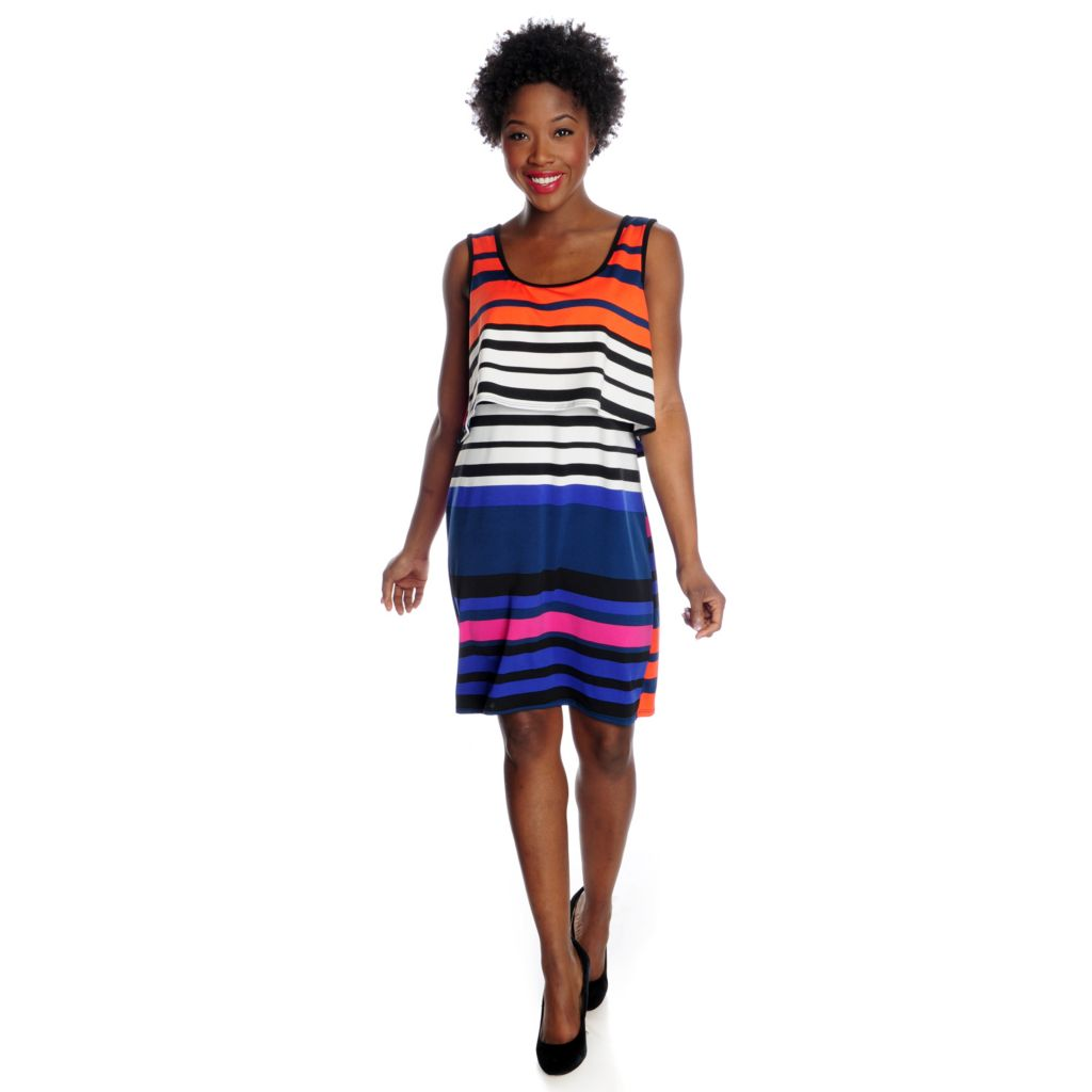 717-216 - aDRESSing WOMAN Printed Knit Sleeveless Crop Top Overlay Scoop Neck Dress