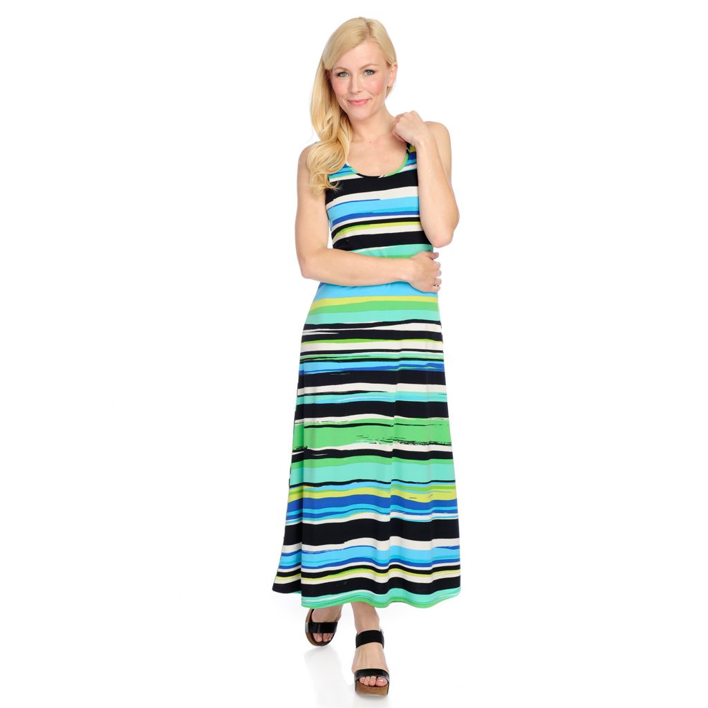 717-220 - aDRESSing WOMAN Stretch Knit Sleeveless Scoop Neck Printed Maxi Dress