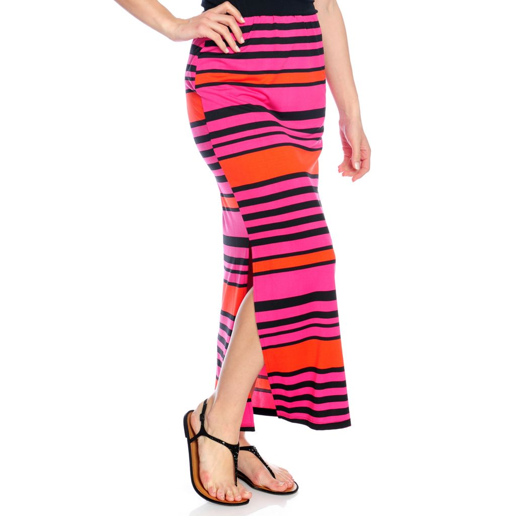 717-221 - aDRESSing WOMAN Printed Knit Elastic Waist Side Slit Printed Maxi Skirt