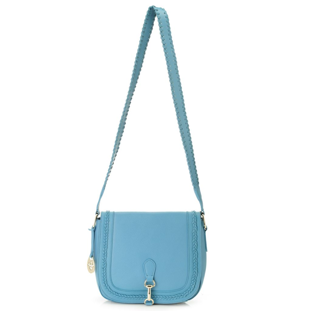717-230 - PRIX DE DRESSAGE Pebbled Leather Braid Detailed Flap-over Cross Body Bag