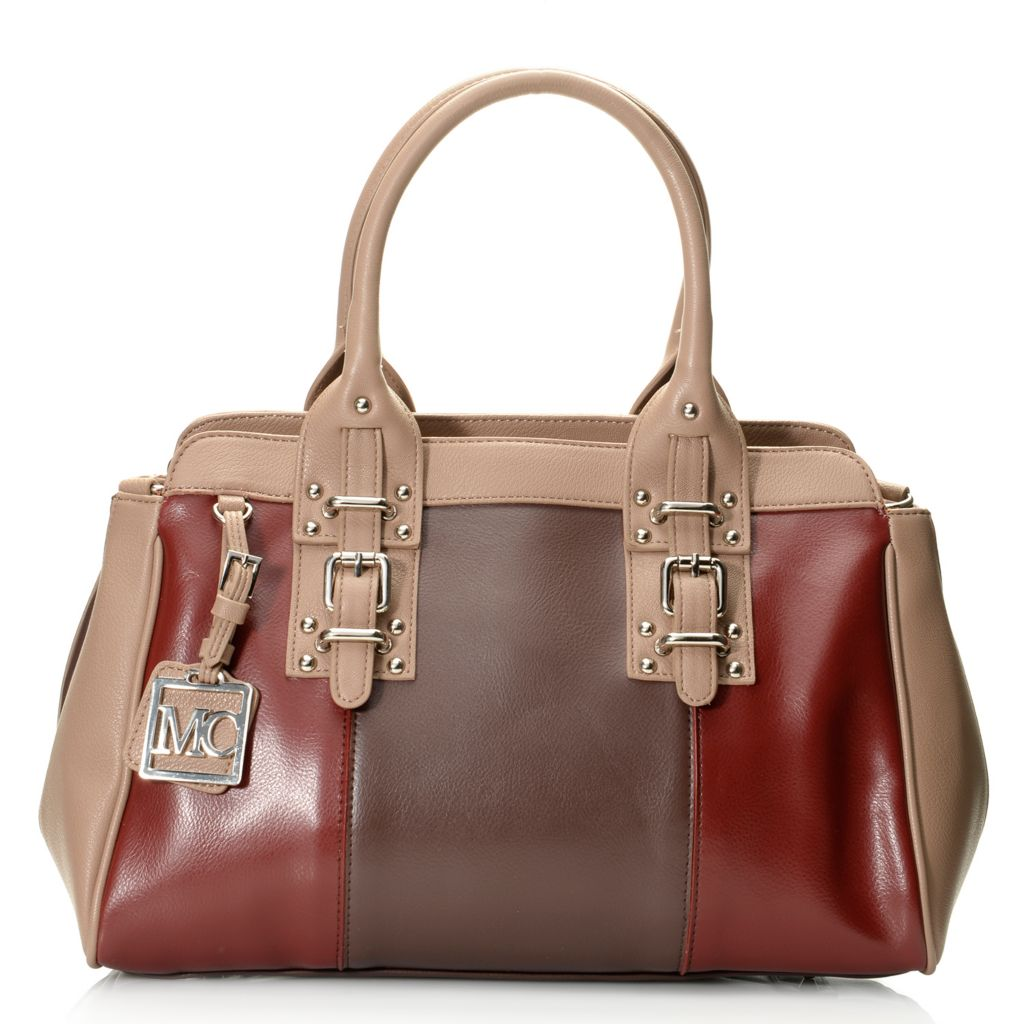 717-231 - Madi Claire Smooth Leather Double Handle Buckle Detailed Satchel w/ Strap