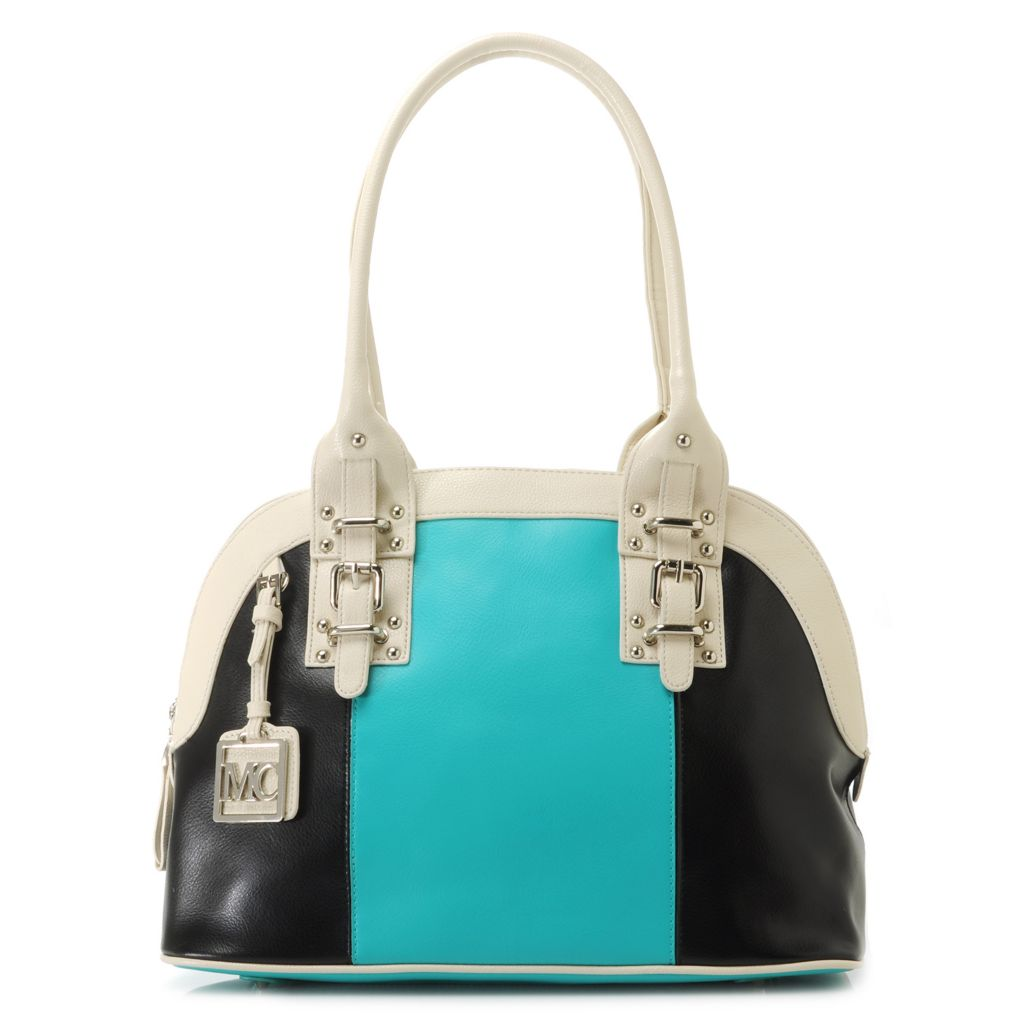 717-232 - Madi Claire Smooth Leather Double Handle Color Blocked Dome Satchel