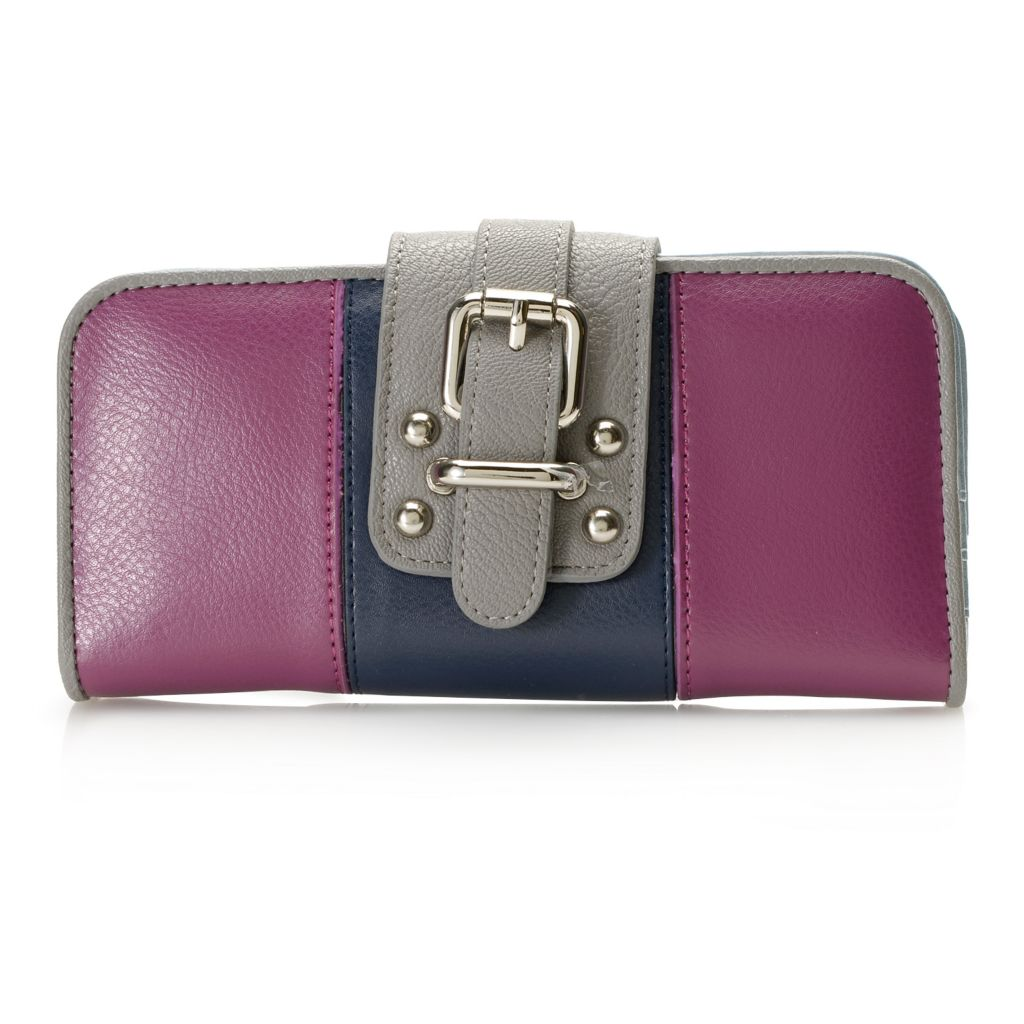 717-234 - Madi Claire Smooth Leather Buckle Detailed Flap-over Bi-Fold Wallet